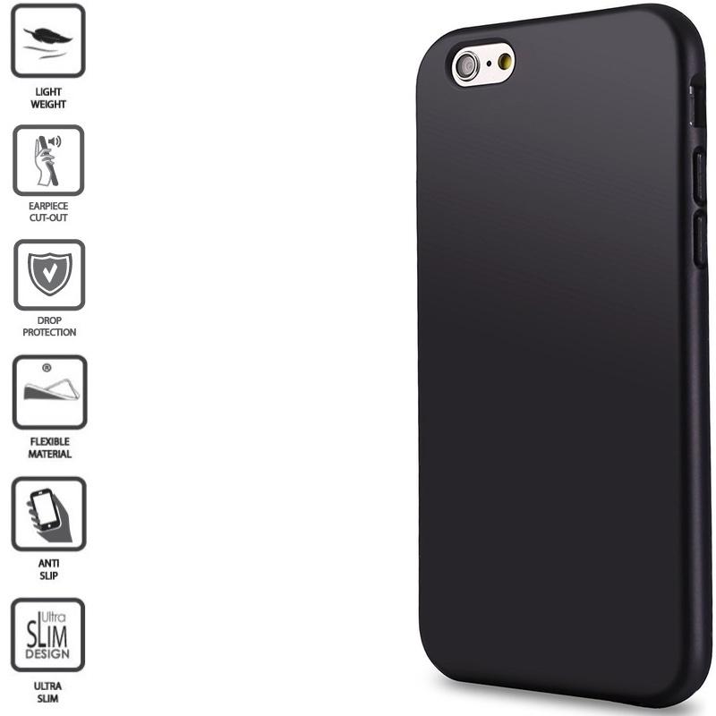 Silikoninis 1mm. storio dėklas - juodas (telefonams Iphone 6/6S)