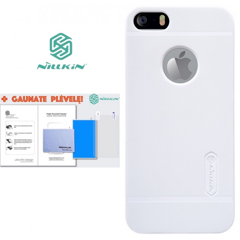 """Iphone 5/5s/SE dėklas baltas """"Nillkin"""" Frosted Shield + plėvelė"""
